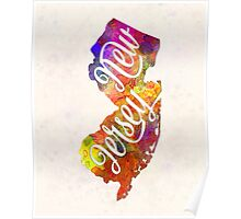 New Jersey US State in watercolor text cut out Poster