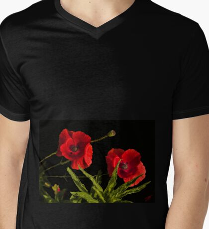 poppies in black Mens V-Neck T-Shirt