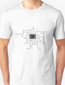 circuitry technology lines microchip disk pattern cool lines Unisex T-Shirt