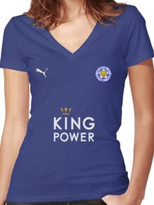 Leicester City F.C. Logo Women's Fitted V-Neck T-Shirt