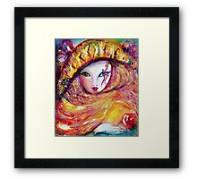 CARNIVAL MASK IN YELLOW / Venetian Masquerade Framed Print