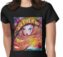 CARNIVAL MASK IN YELLOW / Venetian Masquerade Womens Fitted T-Shirt
