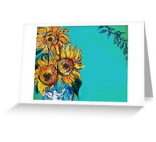 SUNFLOWERS IN BLUE TURQUOISE Greeting Card