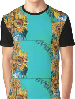 SUNFLOWERS IN BLUE TURQUOISE Graphic T-Shirt