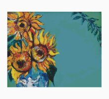 SUNFLOWERS IN BLUE TURQUOISE One Piece - Short Sleeve