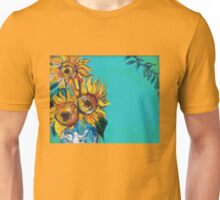 SUNFLOWERS IN BLUE TURQUOISE Unisex T-Shirt
