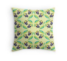 Girly Toucans and tropical leaves pattern Throw Pillow