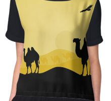 walking camels in the desert,vector illustration Chiffon Top