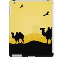 walking camels in the desert,vector illustration iPad Case/Skin
