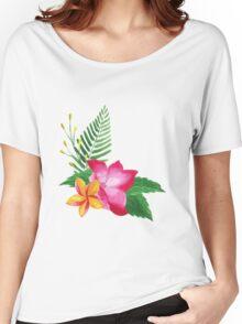 Summer watercolor beautiful tropical flower Women's Relaxed Fit T-Shirt