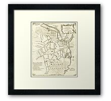 Map of Sheffield by William Fairbank, 1771 Framed Print