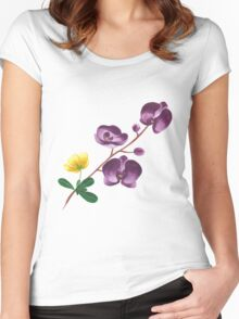 Summer watercolor beautiful tropical flower Women's Fitted Scoop T-Shirt