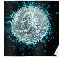 Digitally Enhanced US one Quarter Dollar coin (25 cents) Poster