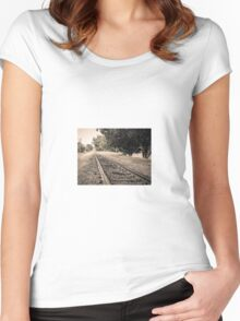 Railway track Women's Fitted Scoop T-Shirt