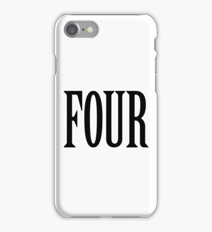 FOUR, 4, TEAM SPORTS, NUMBER 4, FOURTH, Competition, BLACK iPhone Case/Skin