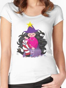 the beading witch with black cat and beads Women's Fitted Scoop T-Shirt