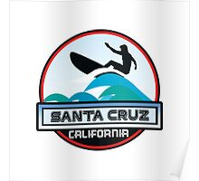 Surfing Santa Cruz California Surf Surfboard Waves Poster