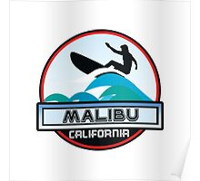 Surfing Malibu California Surf Surfboard Waves Ocean Beach Vacation Poster