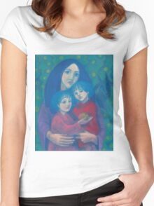 Bedtime fairytale, pastel painting, mother and children, fine art, fantasy, blue, green, pink colors Women's Fitted Scoop T-Shirt