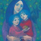 Bedtime fairytale, pastel painting, mother and children, fine art, fantasy, blue, green, pink colors by clipsocallipso