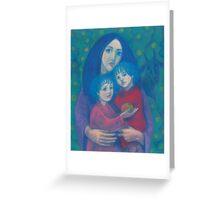Bedtime fairytale, pastel painting, mother and children, fine art, fantasy, blue, green, pink colors Greeting Card