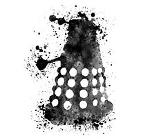 Dalek Doctor Who Black & White Watercolour Photographic Print