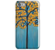 Happy Tree In Blue and Gold iPhone Case/Skin