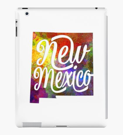 New Mexico US State in watercolor text cut out iPad Case/Skin