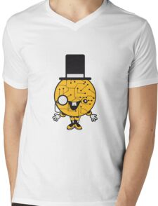 robot sir mr gentlemen cylindrical hat glasses monocle man manikin sweet cute funny comic cartoon cyborg Mens V-Neck T-Shirt