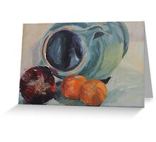 Red Onion, Jug and Clementines Greeting Card