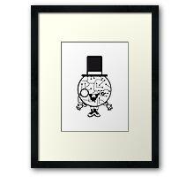 robot sir mr gentlemen cylindrical hat glasses monocle man manikin sweet cute funny comic cartoon cyborg Framed Print
