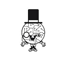 robot sir mr gentlemen cylindrical hat glasses monocle man manikin sweet cute funny comic cartoon cyborg Photographic Print