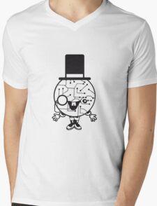 robot sir mr gentlemen cylindrical hat glasses monocle man manikin sweet cute funny comic cartoon cyborg Mens V-Neck T-Shirt
