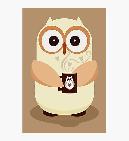 OWL AND CUPPA Photographic Print