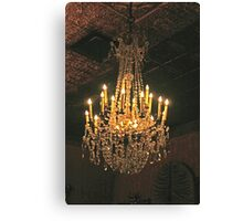 Crystal Chandelier Suspended From Gold Ceiling Canvas Print