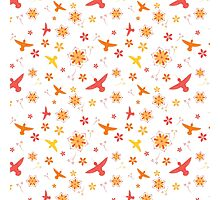 Hummingbirds and Flowers - Pinks and Yellows Photographic Print