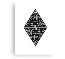 diamond-2 triangles form microchip technology cool design pattern black Canvas Print