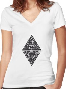 diamond-2 triangles form microchip technology cool design pattern black Women's Fitted V-Neck T-Shirt