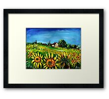 SUNFLOWERS AND COUNTRYSIDE IN TUSCANY Framed Print