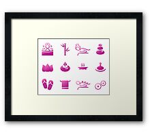 Set of beautiful wellness, spa, sauna Framed Print
