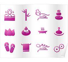 Set of beautiful wellness, spa, sauna Poster