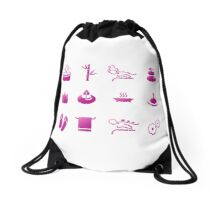 Set of beautiful wellness, spa, sauna Drawstring Bag