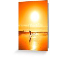 lone fisherman fishing on the Ballybunion beach Greeting Card