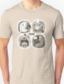 Four Pastel Owls in Funny Hats T-Shirt