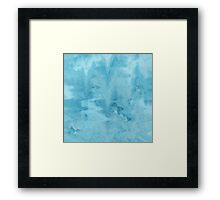 Abstract Blue Watercolor Marble Pattern Framed Print