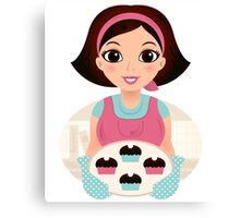 Cooking Mother holding cookies Canvas Print