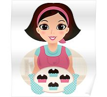 Cooking Mother holding cookies Poster