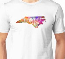 North Carolina US State in watercolor text cut out Unisex T-Shirt