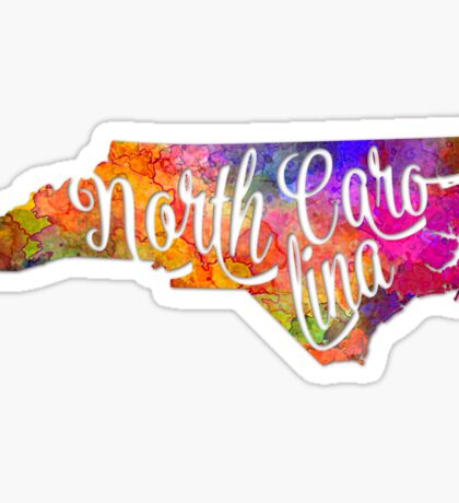 North Carolina US State in watercolor text cut out Sticker