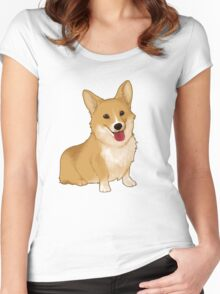 Cute smiling corgi Women's Fitted Scoop T-Shirt